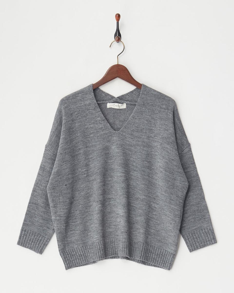 vingtrois /灰色意大利V领针织○237-93001 /女装