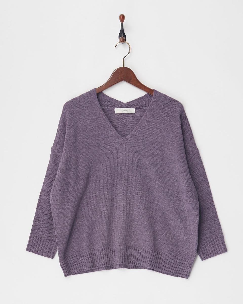 VINGTROIS / Purple Italy V-neck knit ○ 237-93001 / Women's
