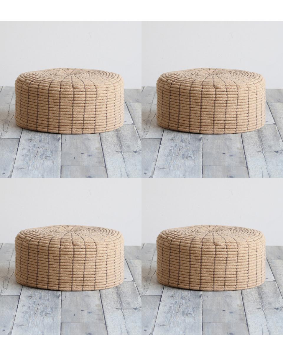 CHIC FURNITURE / light brown floor cushion, set of 4 ○ QCA-5019LBR