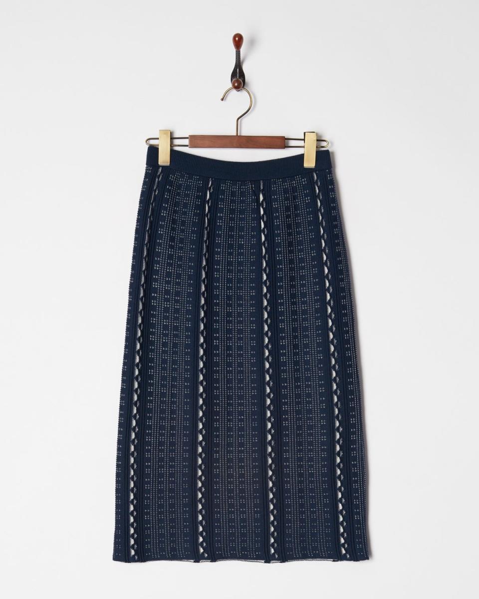AMBINET / navy jacquard knit skirt ○ CRKR0171 / Women's