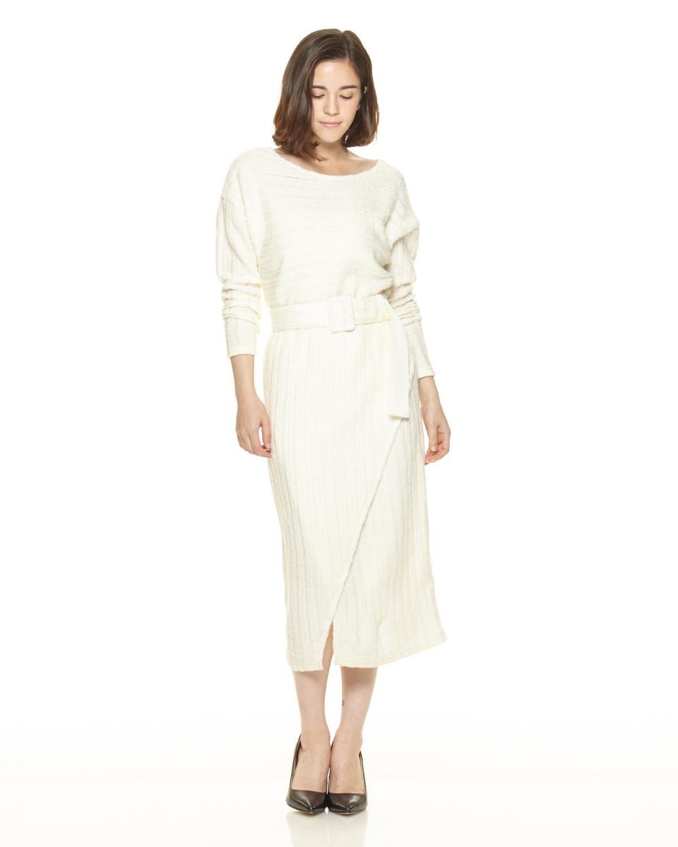 AMBINET / white boat neck slit knit dress ○ CSVA0172 / Women's