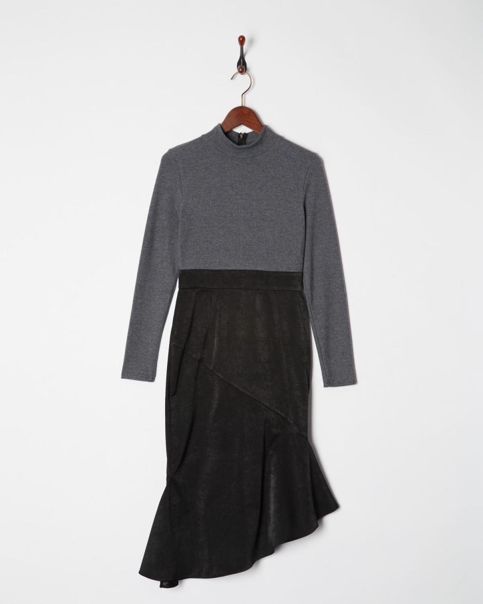 AMBINET / gray / black docking Mermaid Dress ○ CSVA0173 / Women's