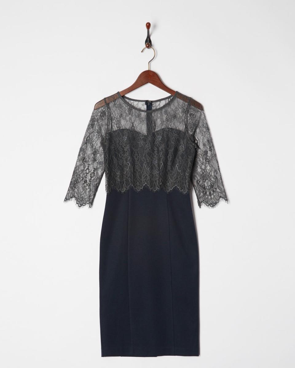 AMBINET / navy lace top Pencil Dress ○ CSVA0174 / Women's