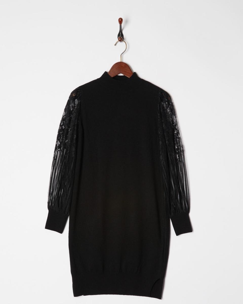 AMBINET /黑色蕾丝袖羊绒针织连衣裙○CSVA0179 /女装