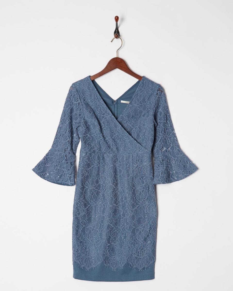AMBINET /蓝Kashukuru花边扇形的衣裙下摆○CSVA0180 /女装