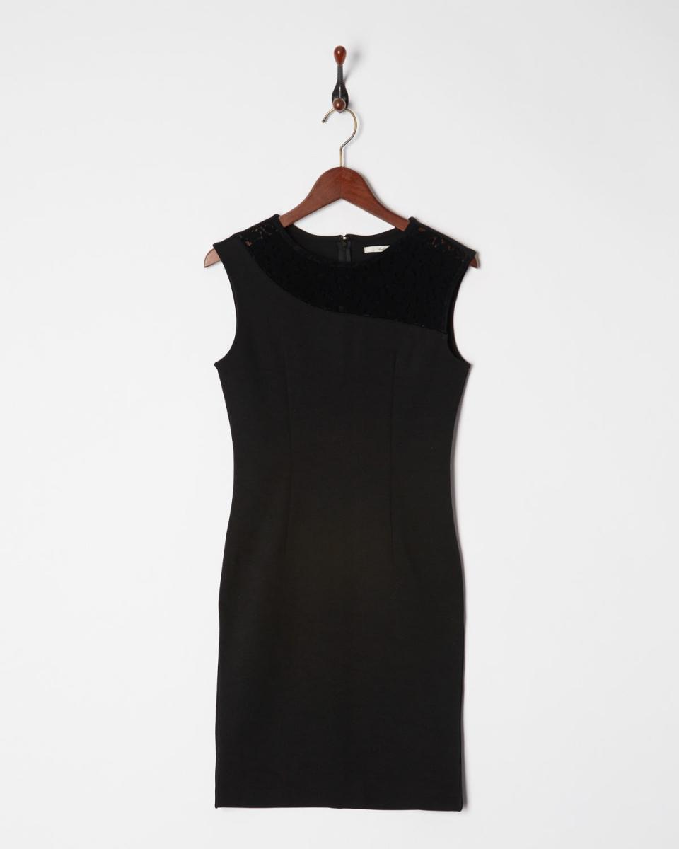 AMBINET /黑色蕾丝丝绒连衣裙面板○CSVA0181 /女装