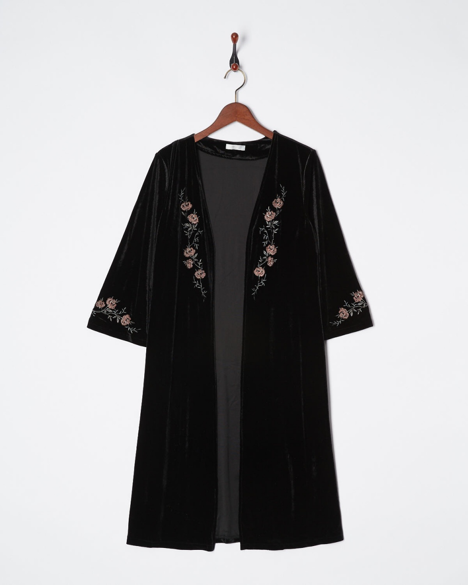 MIIA / black embroidery velor gown ○ 32735519 / Women's