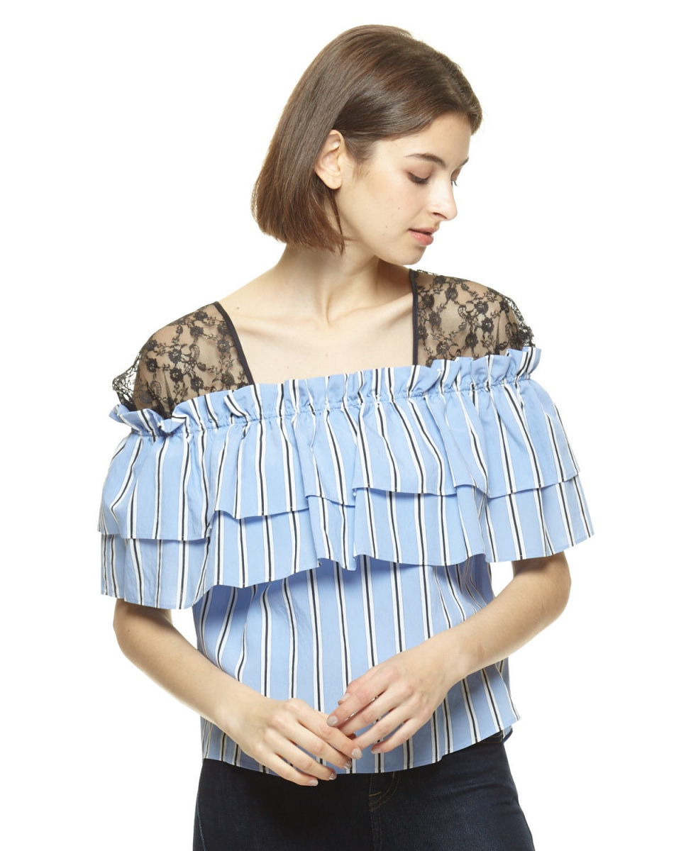Clean2 /蓝色单肩蕾丝上衣○821033 /女装