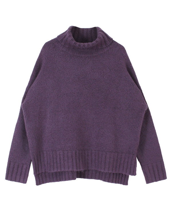 titivate / Purple Turtle fluffy touch knit ○ ASXP1919 / Women's