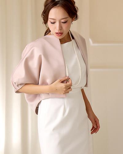 GIRL /粉色米色[婚禮邀請相應波麗]緞面上衣蝙蝠舞曲方波麗○VN-201 /女裝
