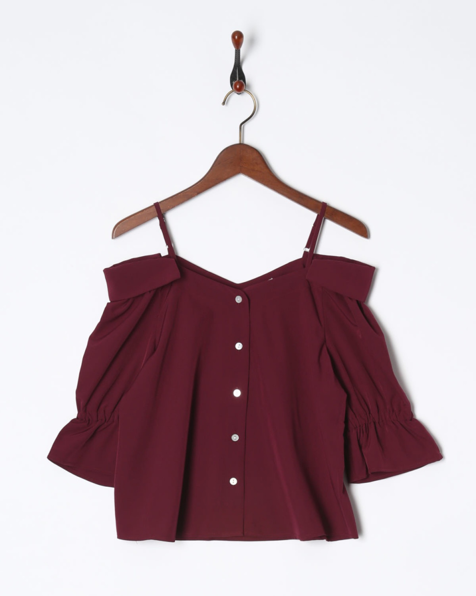 MIIA / BD strap vent collar 5 minutes sleeve blouse ○ 34829318 / Women's
