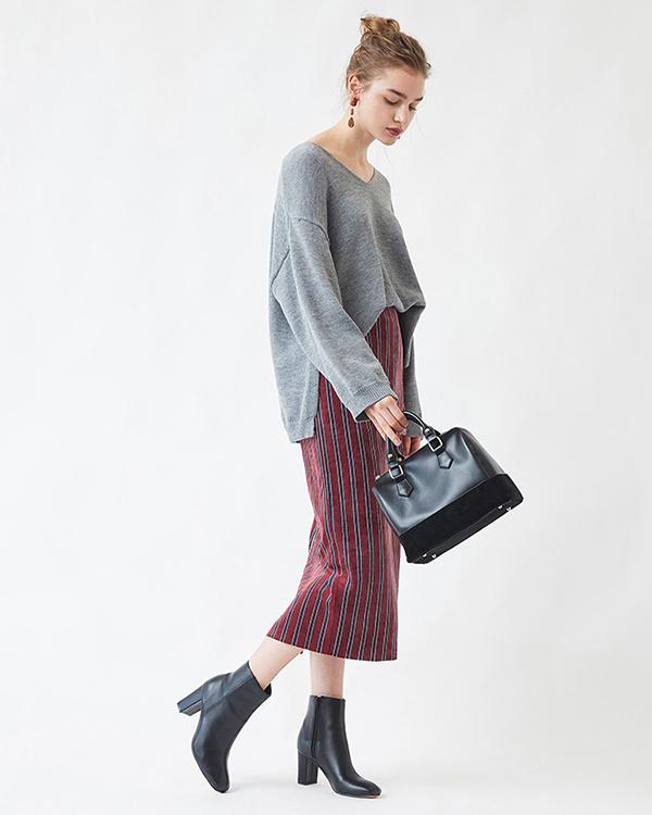 titivate / Bordeaux stripe corduroy tight skirt ○ ASXN0187 / Women's