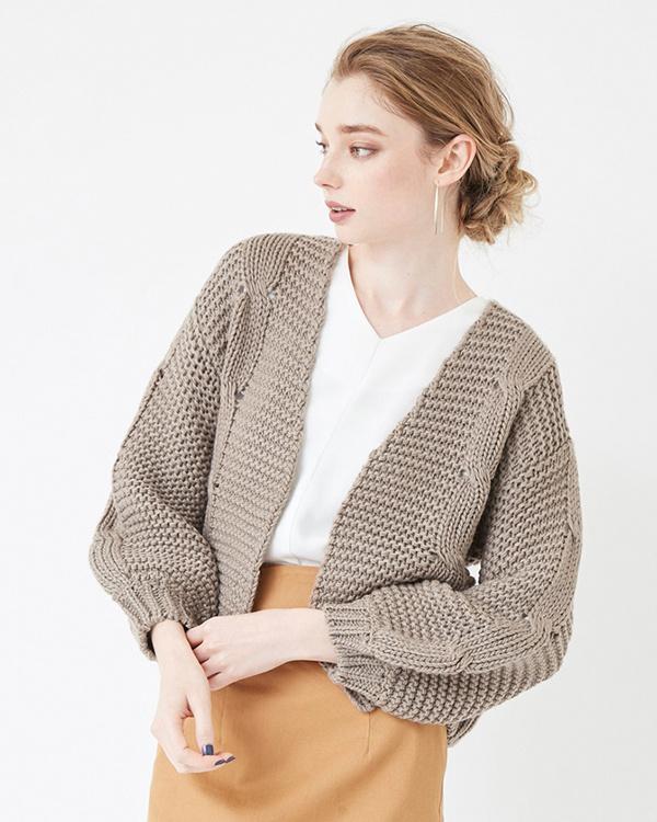 titivate / beige cable knit low gauge knit cardigan ○ ASXP1893 / Women's