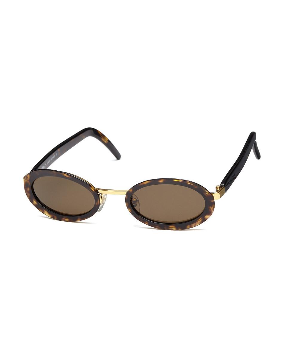 LA PERLA /茶色透明/金色金属组合椭圆形眼镜|女○502