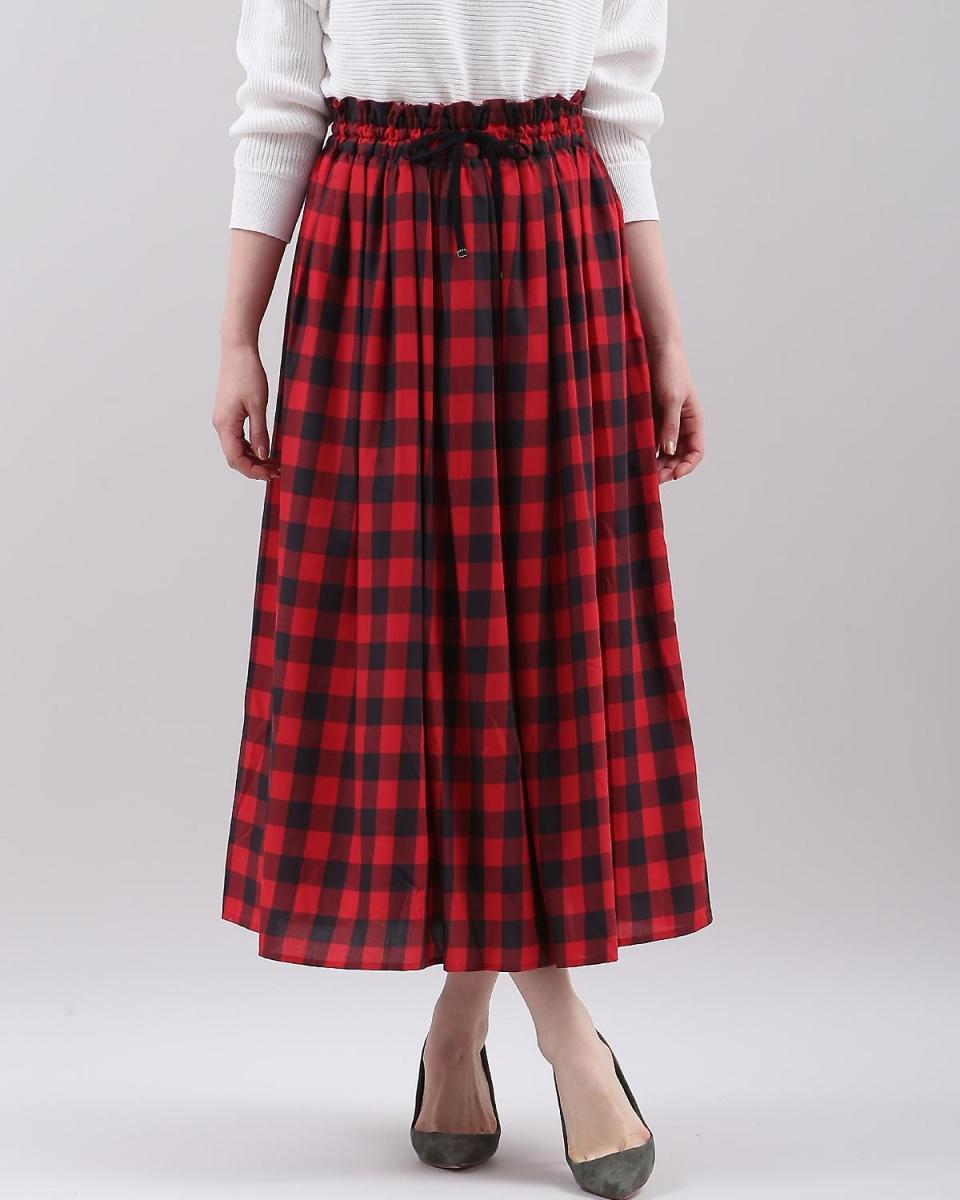 """IT'S. International / Red gingham check flared skirt """"POLKA"""" IT'S. International ○ 1081152017 / Women's"""