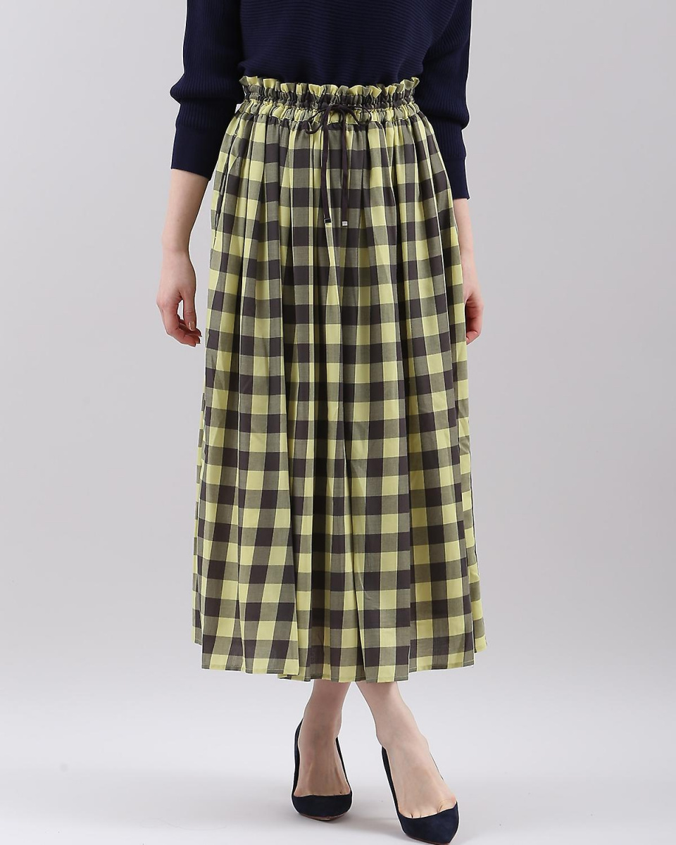 "IT'S. International / yellow gingham check flared skirt ""POLKA"" IT'S. International ○ 1081152017 / Women's"