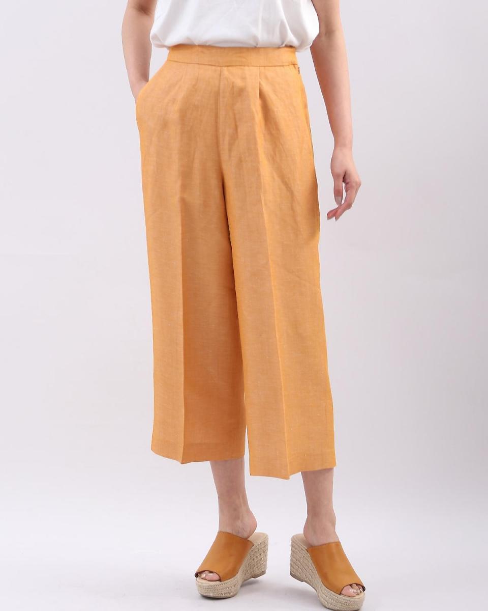 IT'S. International / Orange 1 Center press linen wide pants IT'S. International ○ 1081161032 / Women's
