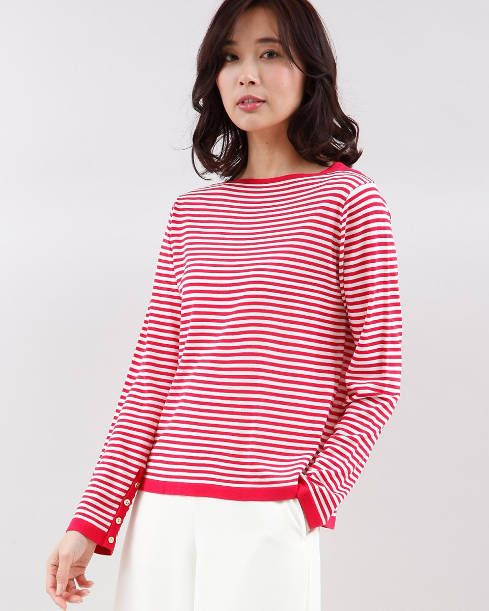 IT'S. International / cherry pink 9 boat neck border knit IT'S. International ○ 1081170008 / Women's