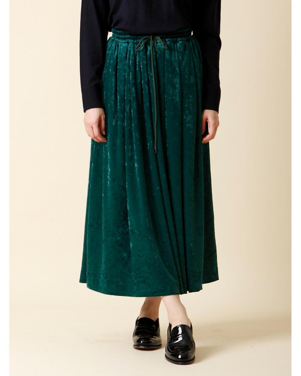 7-ID concept. / モスグリーン2シャイニーベロアフレアスカート 7-ID concept.○7074152007 / ウィメンズ