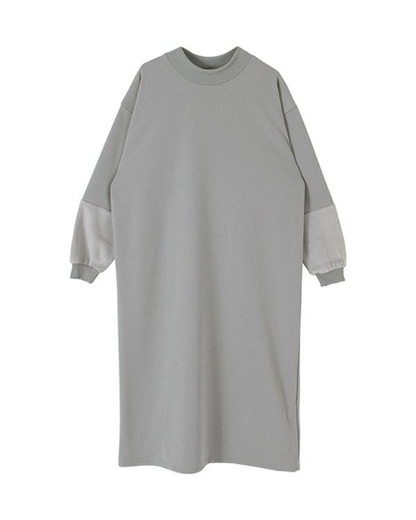 再找補一下/灰色袖子切換毛茸茸的長禮服○ASJR4003 /女裝