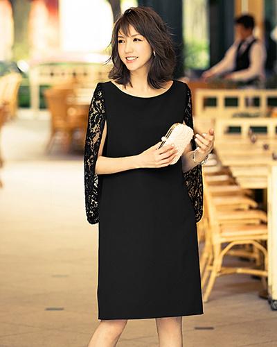GIRL /黑色婚禮邀請相應的比賽開袖我字裙○VN-088 /女裝