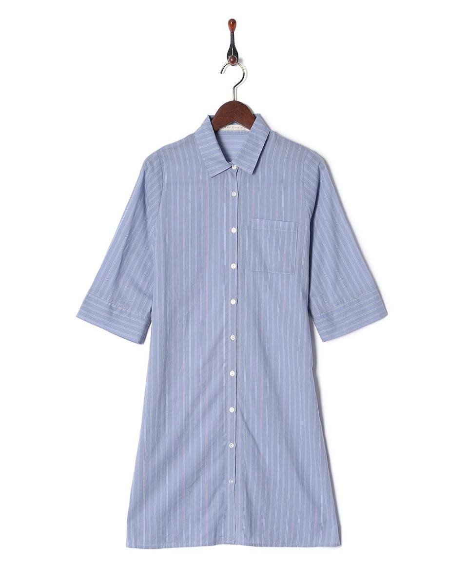 雷·卡森/薩克斯CRP條紋襯衫式連衣裙○985617540 /女裝