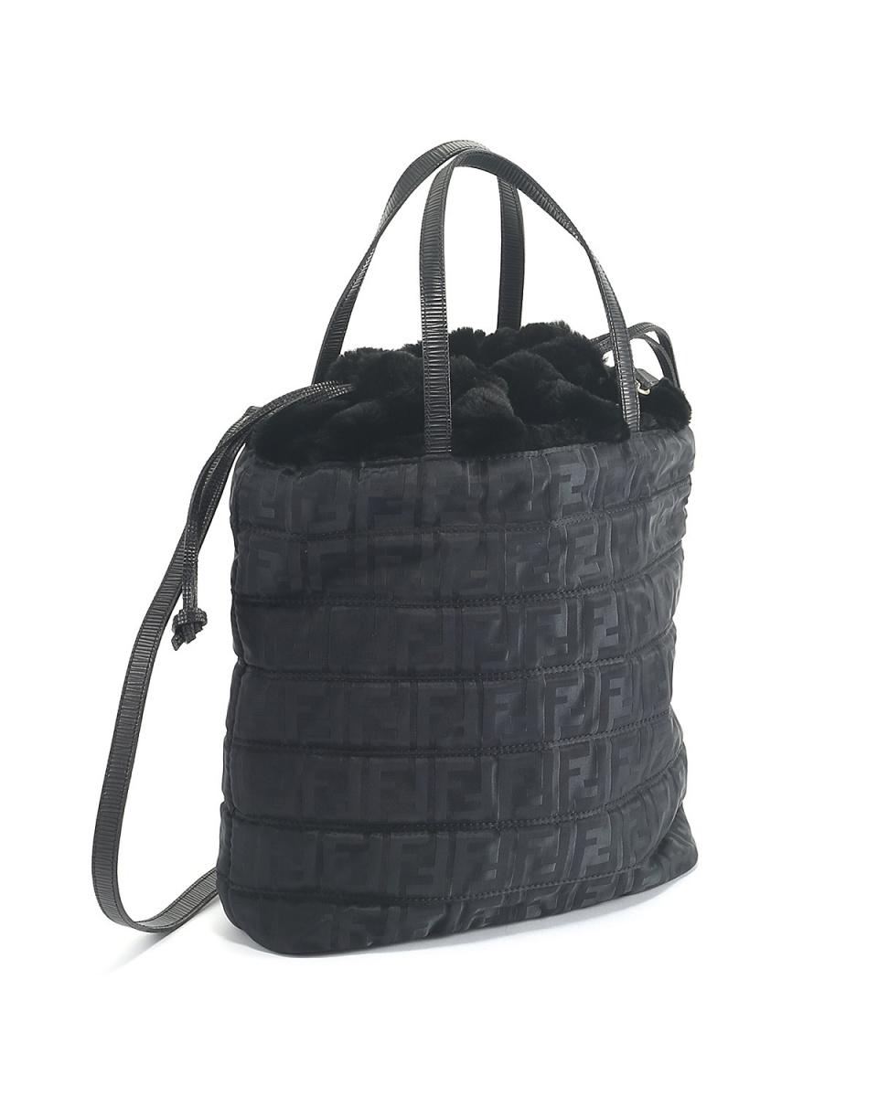 Fendi / fur purse 2way handbag BLK ○ GS11414