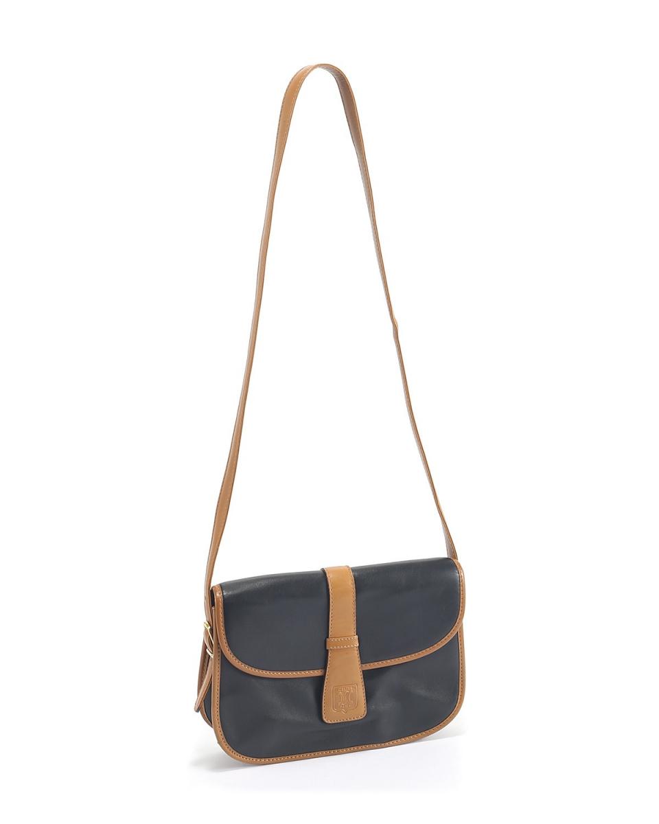 Celine / leather shoulder bag BLK × BRW ○ F4134