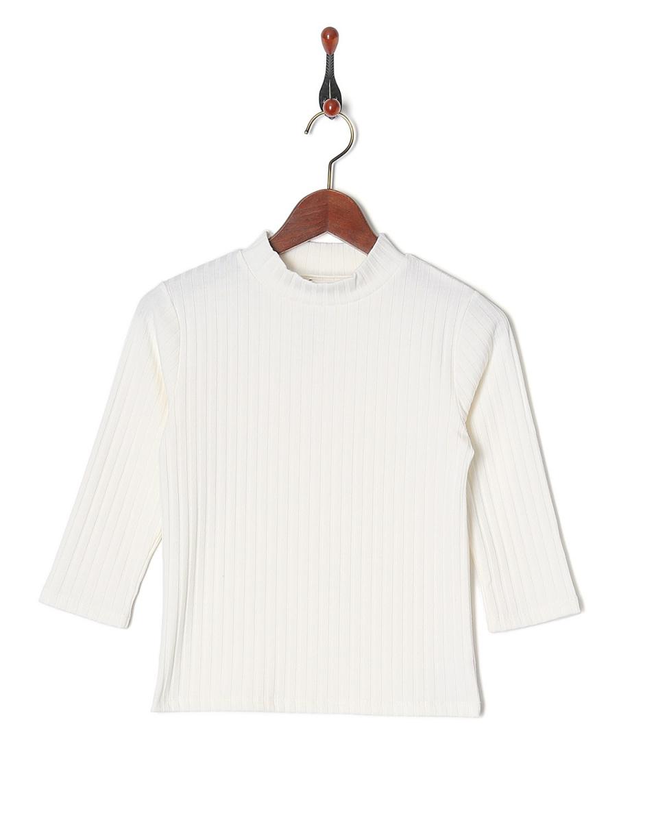 MIIA / OW high-necked 70% sleeve rib tops ○ 34839324 / Women's