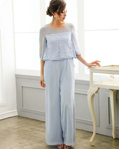 GIRL /藍色婚禮邀請相應的雪紡開關所有功能於一身的闊腳褲○福-126 /女裝