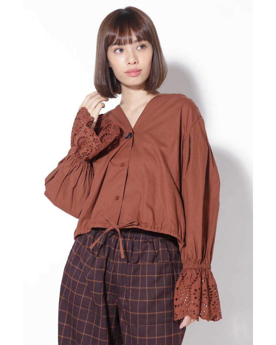 R / B (buying) / Brown 1 cut work bell sleeve blouse R / B (buying) ○ 6018210037 / Women's