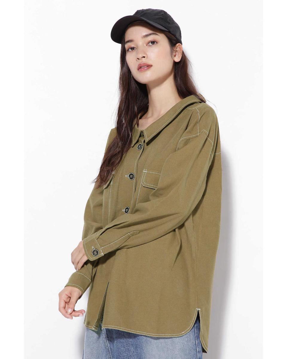R / B (buying) / Khaki 1 vent collar stitch shirt jacket R / B (buying) ○ 6018221038 / Women's