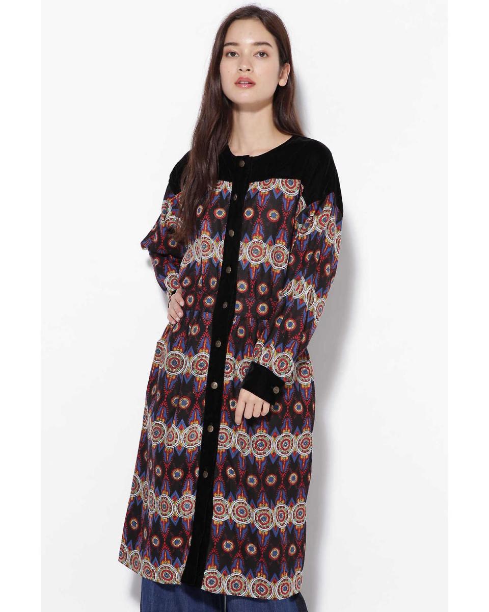 R / B(购买)/不同的材料连衣裙R / B(购买)○6018240041 /女性的黑1个马赛克图案