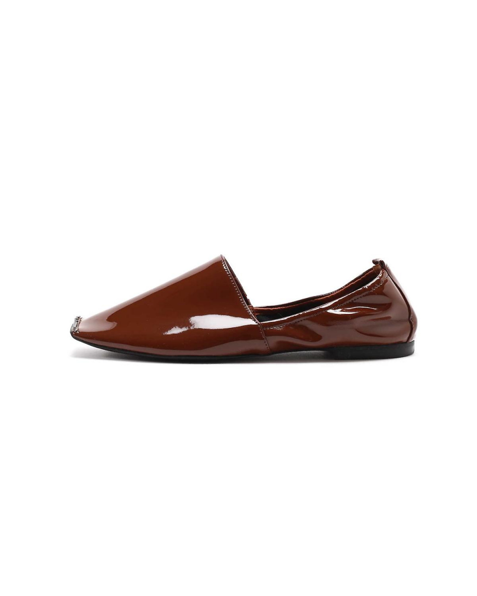 R / B (buying) / Brown 1 enamel square toe flat shoes R / B (buying) ○ 6018256020 / Women's
