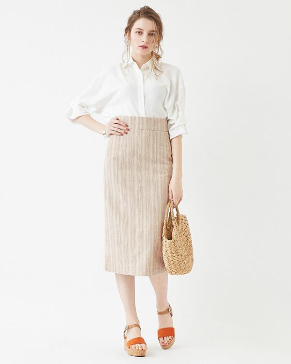 再找補一下/條紋/淺米色高腰背狹縫緊身裙○ATXP2080 /女性