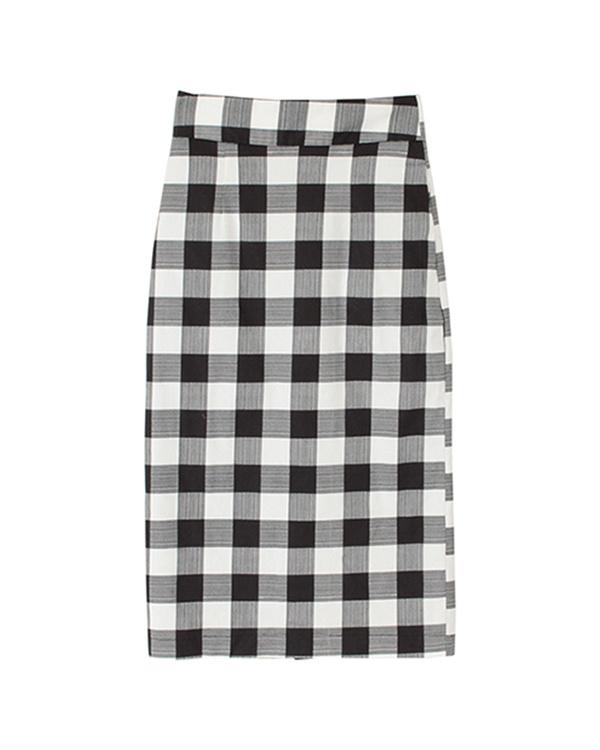 再找補一下/檢查/黑色高腰背部縫緊身裙○ATXP2080 /女裝