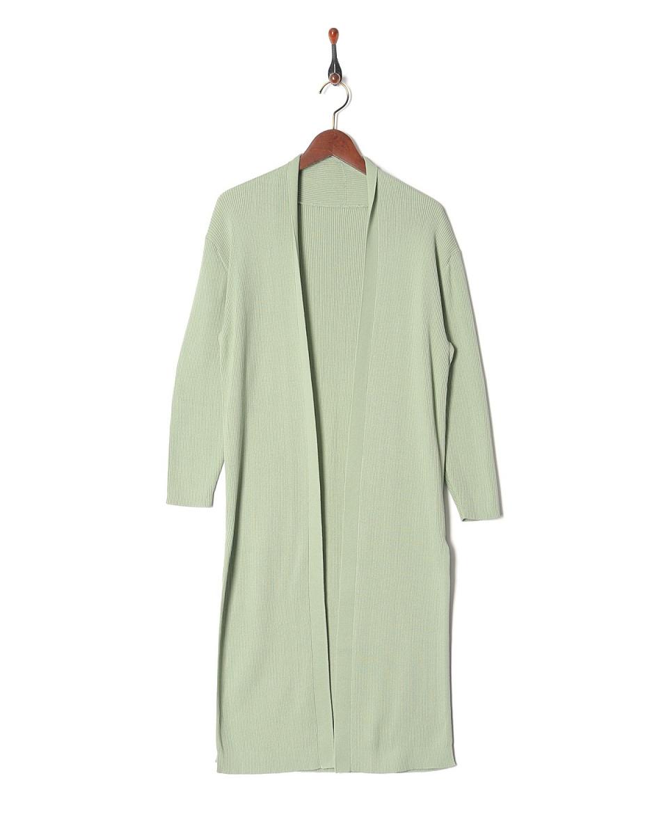 LILLY LYNQUE / l.green棉綢羅紋針織長開衫○8708259 /女裝