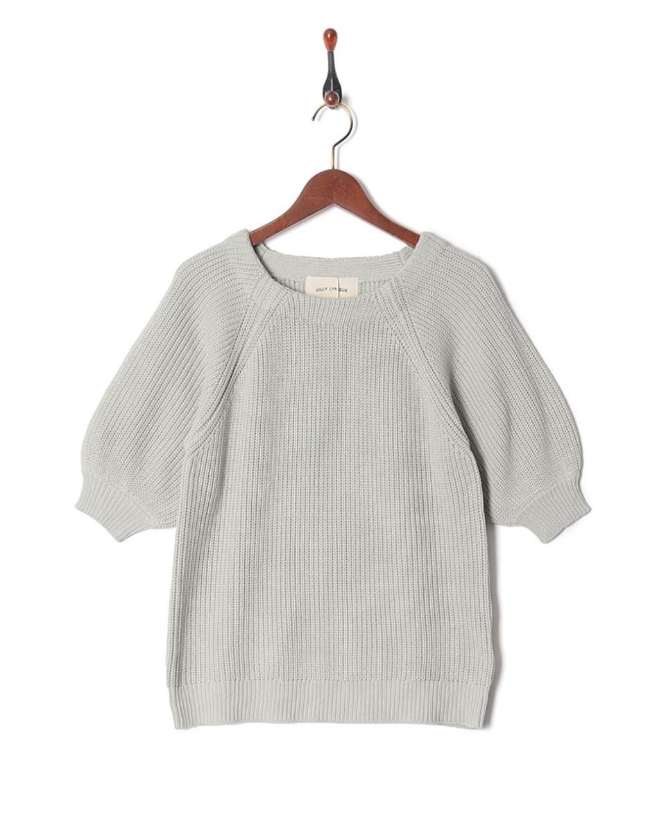 LILLY LYNQUE /灰色棉中間的針織開衫○8708021 /女裝