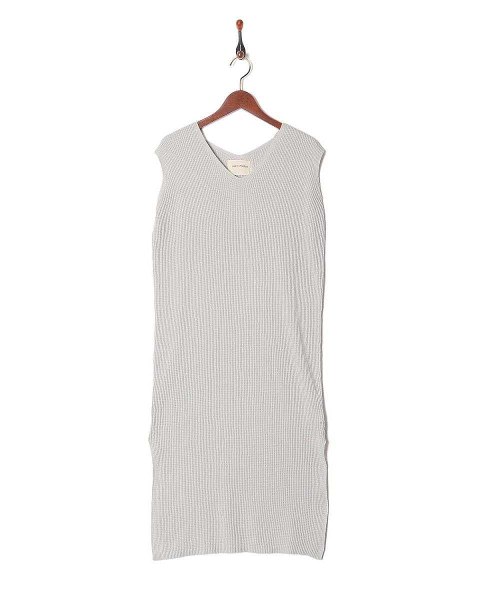 LILLY LYNQUE / l.gray华夫针织V领Nosuri针织连衣裙○8708228 /女装