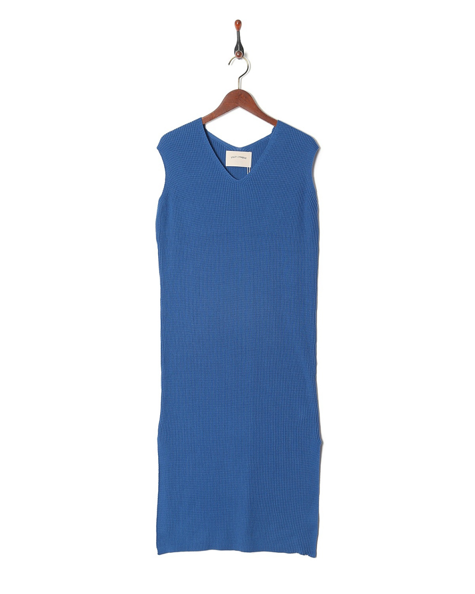 LILLY LYNQUE /蓝华夫格针织V领Nosuri针织连衣裙○8708228 /女装