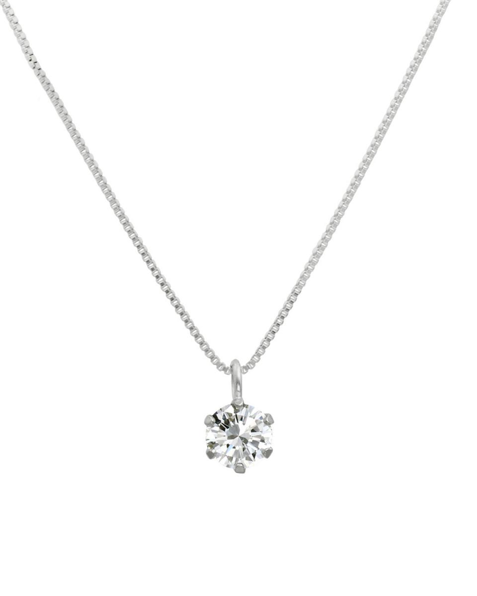 鉑金鑽石及黃金飾品COLLECTION /鉑天然鑽石0.2ct VVS級的六爪項鍊威尼斯鏈○NSII-02CT-VVS-BN40-PT /女裝
