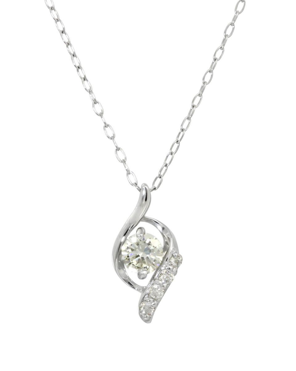 鉑金鑽石及黃金飾品COLLECTION /鉑天然鑽石0.2ct設計的白金項鍊○NSUZ-12747-02CT-A40-PT /女裝