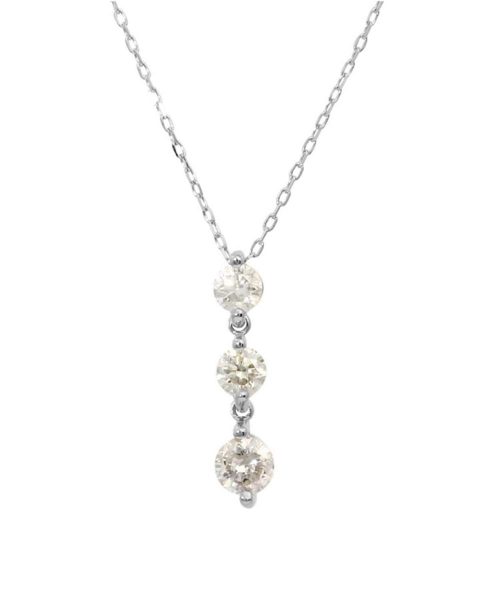 PLATINUM DIAMOND & GOLD JEWELRY COLLECTION / Pt 天然ダイヤモンド 計0.5ct スリーストーン ネックレス○NSUZ-2547-05CT-A40-3STONE-PT / ウィメンズ