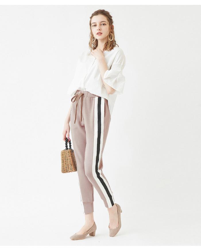 再找補一下/淺米色側進線切斷褲○ATXP2065 /女裝