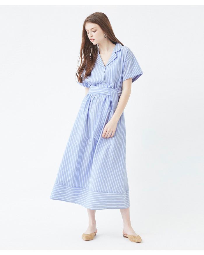 再找補一下/條紋/藍色束腰開領襯衫裙○ATXP2066 /女裝