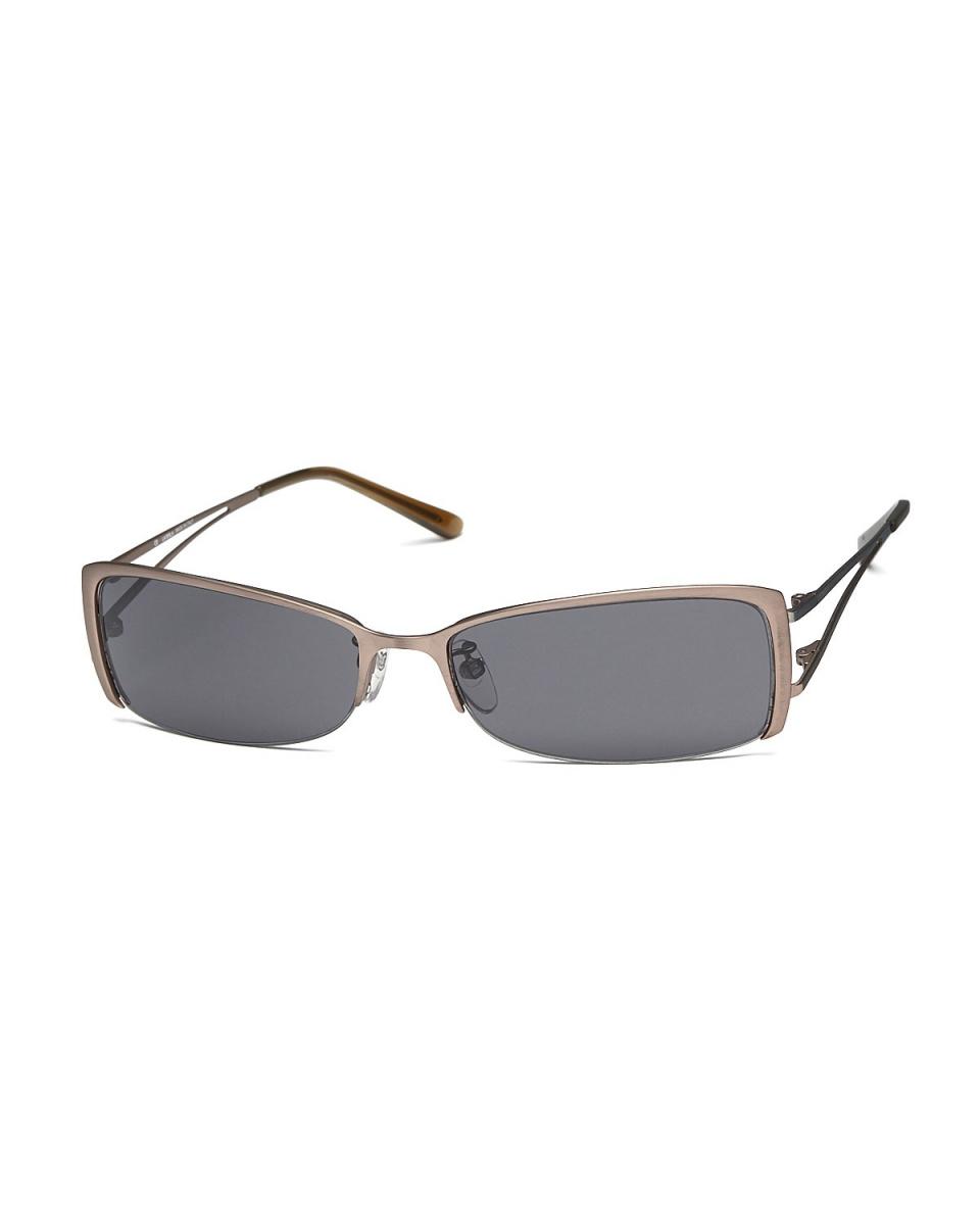 LA PERLA / Brown half-rim Square sunglasses ○ 694M