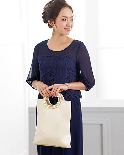 GIRL /香檳婚禮邀請相應的珠光緞面處理的手抓包○BA-257