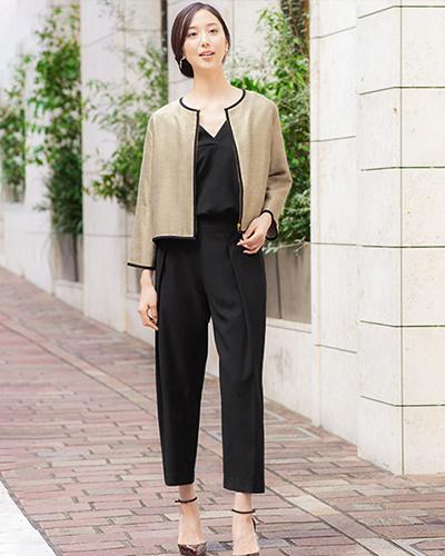 GIRL /棕黑色3件套開學典禮,畢業典禮,753對應的無彩色斜紋軟呢外套和上衣和褲子○福-184 /女裝