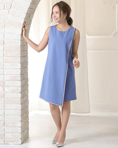 GIRL /蓝灰色裹身裙款式的礼服不对称○KA-CA-170 /女装