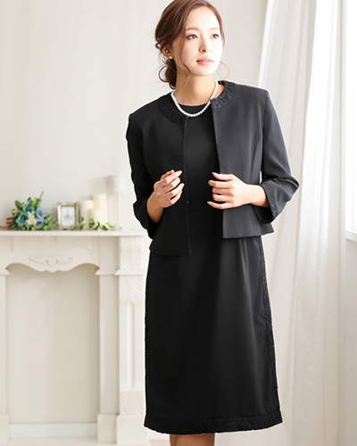 GIRL / black 2-piece set admission ceremony, graduate ceremony no-color jacket and lace switching dress ○ vn-199 / Women's